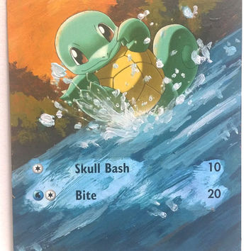 Hand Painted Extended Art Pokemon TCG - Squirtle (Platinum)