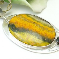 "Bumble Bee Jasper Oval Sterling Pendant Necklace with 24"" Chain"
