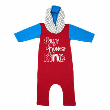 Be Silly Be Honest Be Kind Romper - Red Blue Dots
