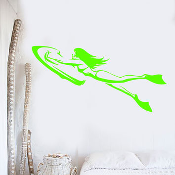 Vinyl Wall Decal Underwater Scooter Diving Girl In Swimsuit Stickers Unique Gift (1492ig)