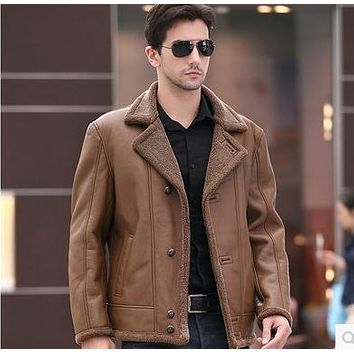 The new big yards male fur leather coat Australian safari fur one men's leather jackets with thick fur coat lapels on sale