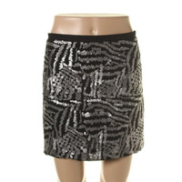 Theory Womens Veronique Silk Sequined A-Line Skirt