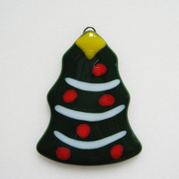 Christmas Tree Fused Glass Ornament - Christmas Decoration  - Christmas Ornament