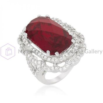 Red Cocktail Crest Ring (size: 05) R08379R-C13-05