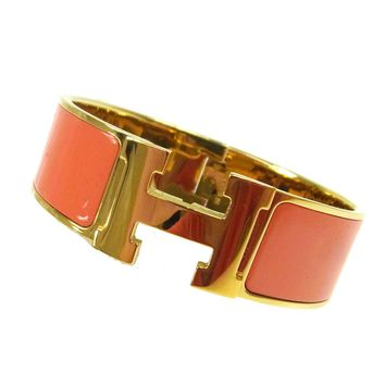 Auth HERMES Vintage H Logos Clic Clac Bangle Gold Orange Accessories TG00778