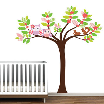 Owls and Squirrel with Tree Vinyl Wall Decal Sticker Reusable Cute Kids Playroom Nursery