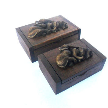 Two Teak Wood Rustic Box Boxes With Elephants Reclaimed Handmade wooden Elephant Box Home Art Decor / Zen Art / Gift