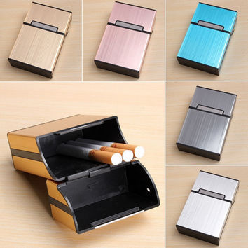 Tobacco Holder Storage Case Cigarette Cigar Case Box Pocket-Box Container Storage Holder Box Aluminum Alloy Clamshell Type Gift