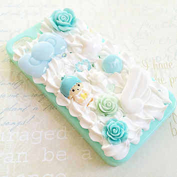 Mint iPhone 4/4S Case - Decoden Phone - Kiki Twin Stars Case - Kawaii Sweets Deco - Flowers, Angel, Bow - Whipped Cream -  Pastel Fairy Kei
