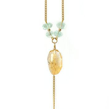 Yellow Faceted Citrine and Green Fluorite Gemstone Y Necklace, Fresh Color Spring Inspired Jewelry