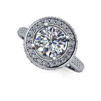 Diamond Halo Engagement Ring - Halo Ring Setting - Forever One Moissanite Engagement Ring