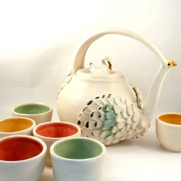 Elegant Swan Teapot with six tea cups in winter white with pastels