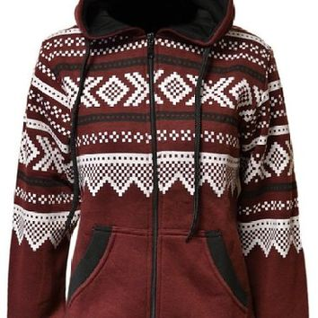 Zj Clothes Ladies Aztec Fleece Zip Hoodie