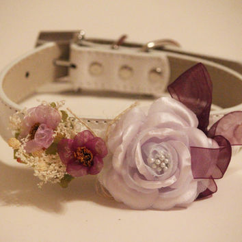 Purple Wedding Dog Collar,  Floral dog collar, High Quality Leather Collar, Pet Wedding Accessory