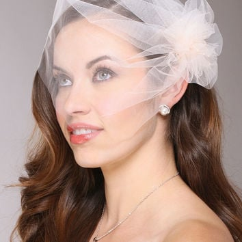 Tulle Birdcage Veil Bridal Cap with Side Pouf & Stamen Accents 3908V