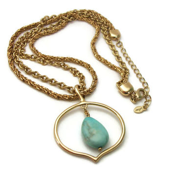 Monet Teardrop Blue Stone Gold Tone Double Strand Pendant Necklace Adjustable Collarbone Length 16 to 18 inches Vintage Signed Monet Jewelry