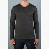 {the common good} Slim Long-Sleeve Rolled-Hem Henley in Gray-Z