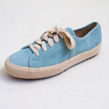 Vintage Suede Baby Blue 1990's Leather Lace Up Gap Classic Tennis Shoes Sneakers Sz 7.5 US 38 EU