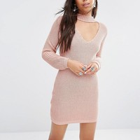 Boohoo | Boohoo Choker Detail Sweater Dress at ASOS