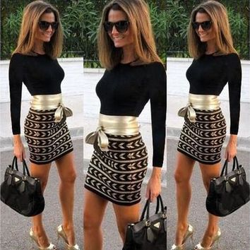 Sexy Women Long Sleeve Bodycon Bandage Evening Party Club Cocktail Mini Dress [9305595783]