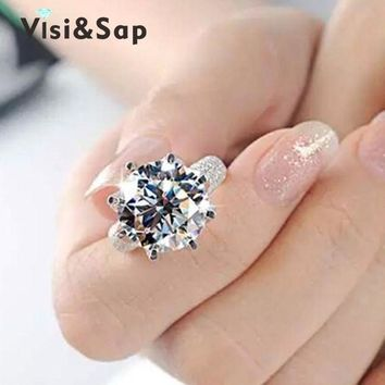 ac spbest Visisap White Gold Color ring 8 Carat Crown AAA cubic zircon Wedding Rings For Women Luxury size 5-11 fashion jewelry VSR064