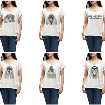 Women Hand Draw Monkeys Printed Short Sleeves T-shirt WTS_01