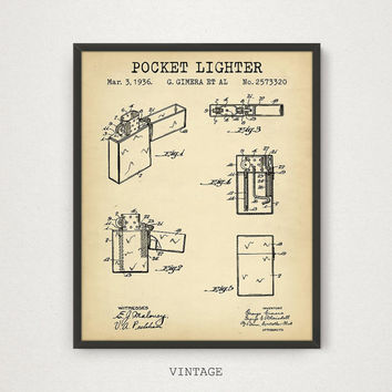 Pocket Lighter Patent Poster, Digital Download, Zippo Lighter Patent, Cigarette Lighter Print, Cigar Lounge Decor, Vintage Lighter Blueprint