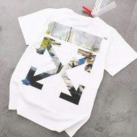 Off White New fashion bust letter and back coloful cross print top t-shirt White