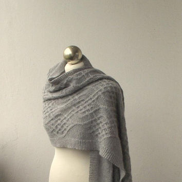 Light Grey hand knitted   alpaca shawl with celtic cable motifs, celtic cable stole scarf