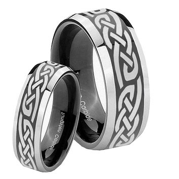 His Hers Celtic Knot Infinity Love Beveled Glossy Black 2 Tone Tungsten Engraving Ring Set