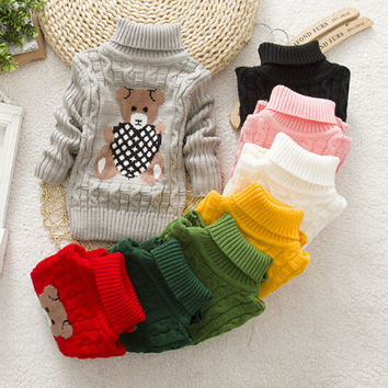 Infant Baby Boys Girls Children Kids Knitted Winter Autumn Pullovers Turtleneck Warm Outerwear Boy Sweaters
