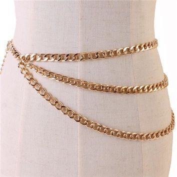 "29"" - 48"" gold chain layered belt"