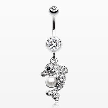 Sparkling Dolphin Belly Button Ring