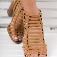 Macy Strappy Booties (Tan)