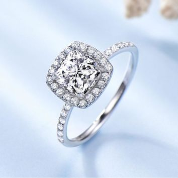 Silver 925 Jewelry Luxury Bridal  Cubic Zirconia Rings For Women  Solitaire Engagement  Wedding Party Gift Fine Jewelry