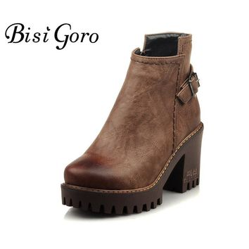 BISI GORO 2017 Women Ankle Boots Heels Thick Heel Platform Chunky Boots Leather Martin Boots Female Women Punk Rock Combat Boots