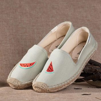 Soludos Watermelon Platform Smoking Embroidery Slipper Blue - Best Deal Online