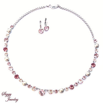Belle Rouge, Swarovski crystal necklace 8mm/6mm, rose blush, antique pink, crystals and pearls neutral necklace, Siggy Jewelry