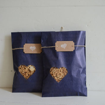Blue Kraft paper bag with a small off center heart window set of 20 kraft bags and 20 cellophane bags --- Wedding favor or party bags