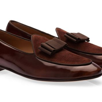 Brown Patent Leather and Velvet Loafers