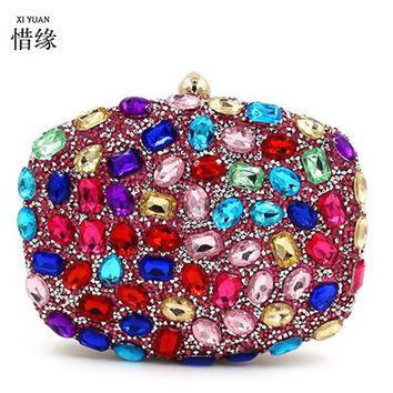 XIYUAN BRAND 2017 fashion and luxury red women beaded sparkle crystal colorful diamond evening bag girls clutch wallet handbags