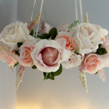 Flower Mobile / Floral Chandelier / Light Pink and White Floral Mobile / Room Decor / Vintage Style Floral Chandelier / Baby Mobile