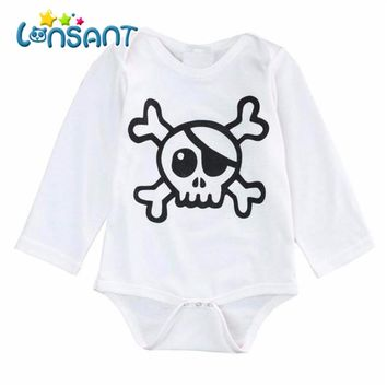 Infant Baby Skull High Quality Long Sleeve Romper Coverall Teddy Leotard Girls clothing