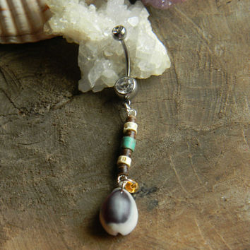 Island Tribal Cowry Shell Belly Ring