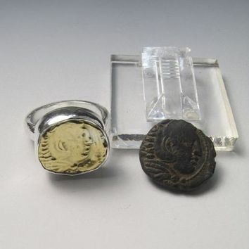 Rare Coin Cast Alexander the Great Bronze and Silver Ring
