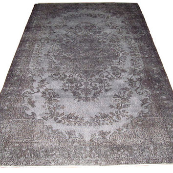 Sale Dark Grey Overdyed Handmade Rug  with Medallion Design  8'5'' x 5'6''   feet