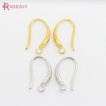 10PCS Height 15MM 24K Gold Color Plated Brass Earring Hooks High 19a1fa1439bc