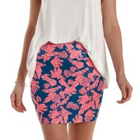 Ocean Depths Tropical Print Bodycon Mini Skirt by Charlotte Russe
