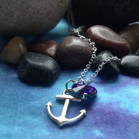 Captain Hook Anchor Once Upon a Time Character Necklace with Charm and Swarovski Crystal Heart