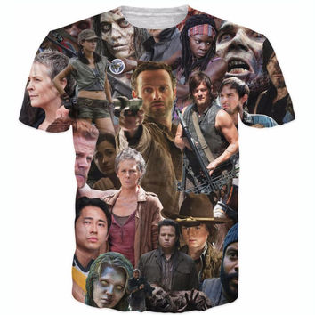 Raisevern new fashion mens 3D t shirt The Walking Dead T-Shirt Rick Grimes Carl Daryl Michonne zombies 3d tees shirts